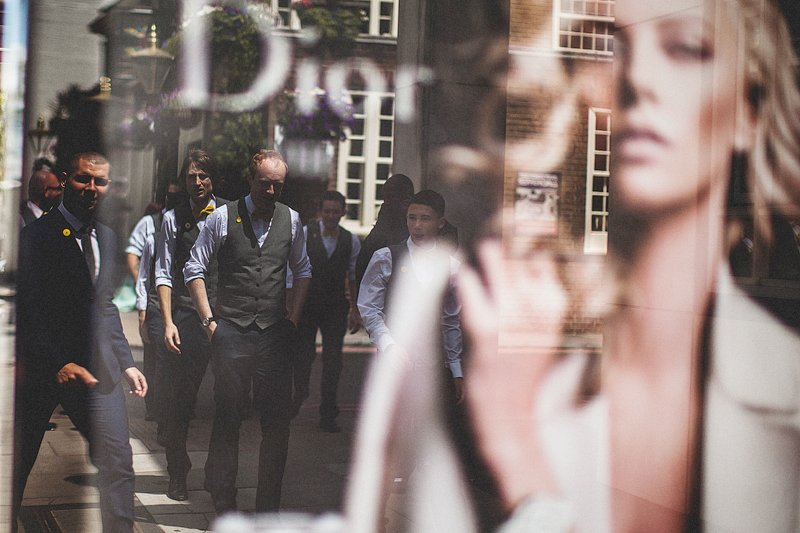 wedding photographer, shoreditch, london, creative, bianca + paul, chris barber photography, industrial, vintage, diy, wedding, fun, documentary, yellow, bow tie,