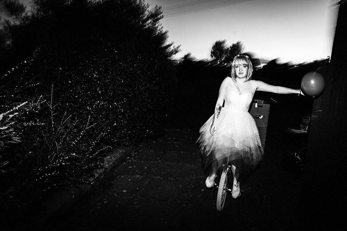 rock n roll bride unicycle wedding